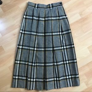 Vtg Evan Picone Wool Blend Long Plaid Skirt